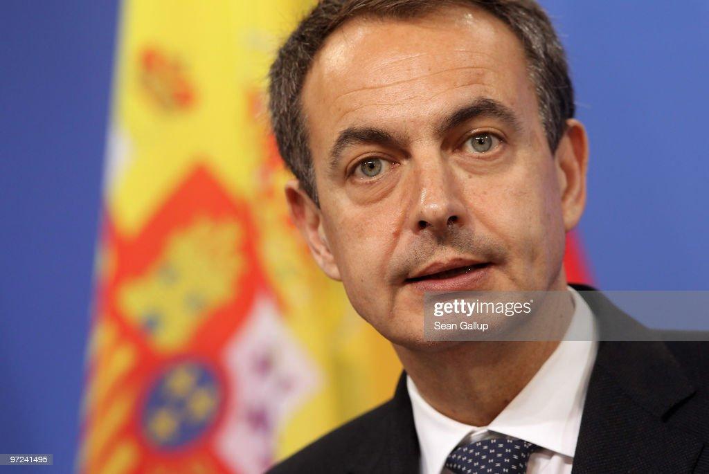Merkel Meets With Spanish Prime Minister Zapatero