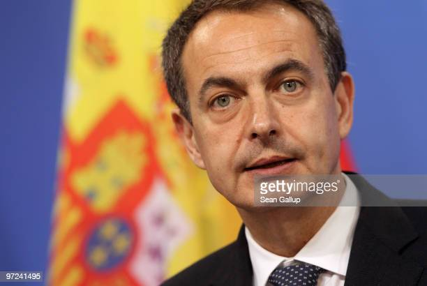 Spanish Prime Minister Jose Luis Rodriguez Zapatero speaks to the media after bilateral talks with German Chancellor Angela Merkel on March 1 2010 in...
