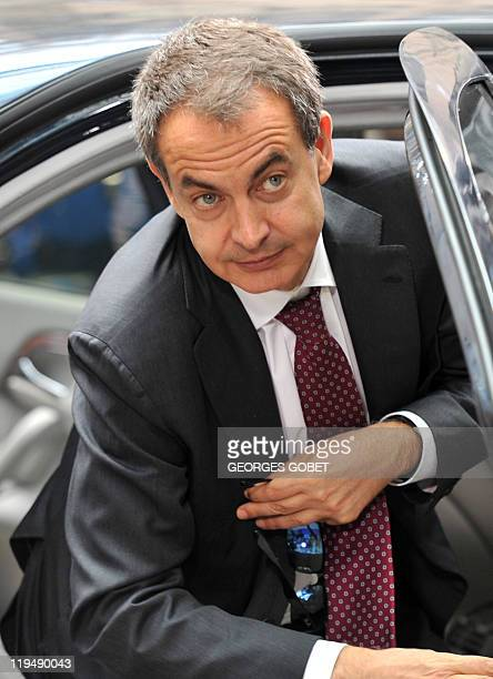 Spanish Prime Minister Jose Luis Zapatero arrives for the EU summit on July 21 2010 at the European Council headquarters in BrusselsEurozone leaders...