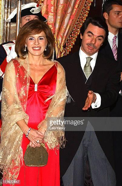 Spanish Prime Minister Jose Maria Aznar and wife Ana Botella