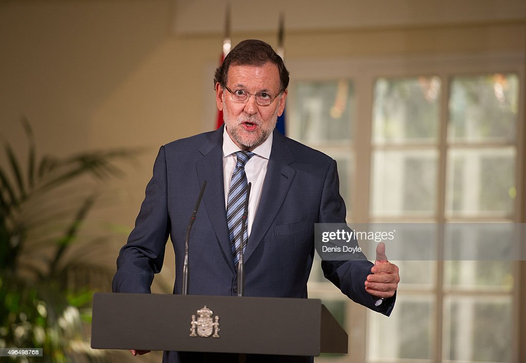 Spanish Prime Minister Mariano Rajoy addresses members of the press before awarding Porto goalkeeper Iker Casillas with the 'Gran Cruz de la Orden al Merito Deportivo' Award (Sport Merit Royal Order Award) at the Moncloa palace on November 10, 2015 in Madrid, Spain.