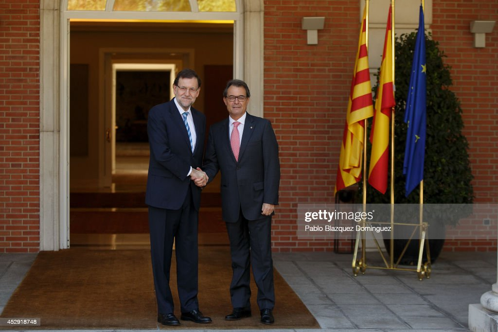 Spanish Prime Minister Mariano Rajoy and Catalonia's President <a gi-track='captionPersonalityLinkClicked' href=/galleries/search?phrase=Artur+Mas&family=editorial&specificpeople=712829 ng-click='$event.stopPropagation()'>Artur Mas</a> meet at Moncloa Palace on July 30, 2014 in Madrid, Spain. Catalonia's President and leader of the Catalan Convergence and Unity party (CiU) <a gi-track='captionPersonalityLinkClicked' href=/galleries/search?phrase=Artur+Mas&family=editorial&specificpeople=712829 ng-click='$event.stopPropagation()'>Artur Mas</a> met Spanish Prime Minister Mariano Rajoy to resolve a dispute over the plans to hold a secession referendum in Catalonia on November. The meeting took place just after the historical leader of Catalan nationalism, Jordi Pujol, who ruled Catalonia for 23 years, resigned to all privileges after committing tax fraud for decades.