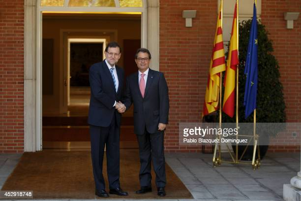 Spanish Prime Minister Mariano Rajoy and Catalonia's President Artur Mas meet at Moncloa Palace on July 30 2014 in Madrid Spain Catalonia's President...