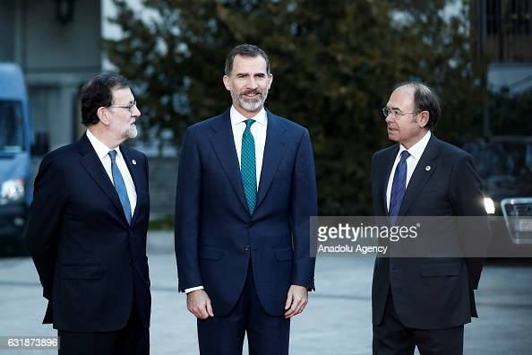 Spanish Prime Minister Mariano Rajoy and Felipe VI of Spain are seen ahead of a meeting with the Presidents of 17 autonomous governments at the...