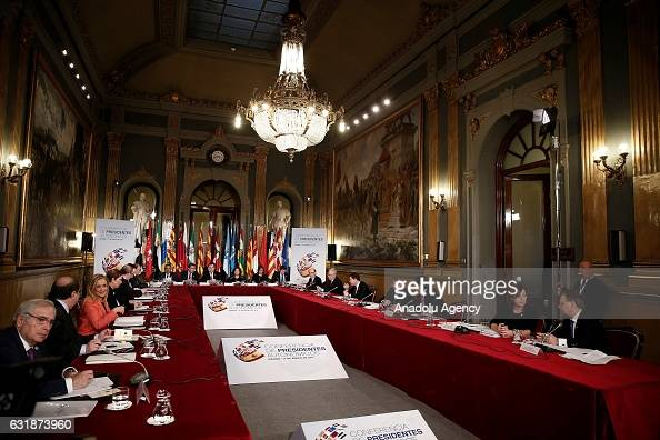 Spanish Prime Minister Mariano Rajoy and Felipe VI of Spain attend a meeting with the Presidents of 17 autonomous governments at the Senate in Madrid...