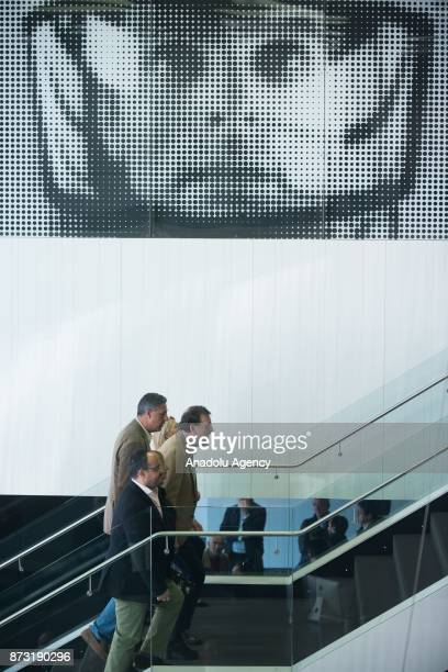 Spanish Prime Minister Mariano Rajoy and leader of the Catalan Popular Party Xavier Garcia Albiol meet in Barcelona Spain on November 12 2017 Rajoy...