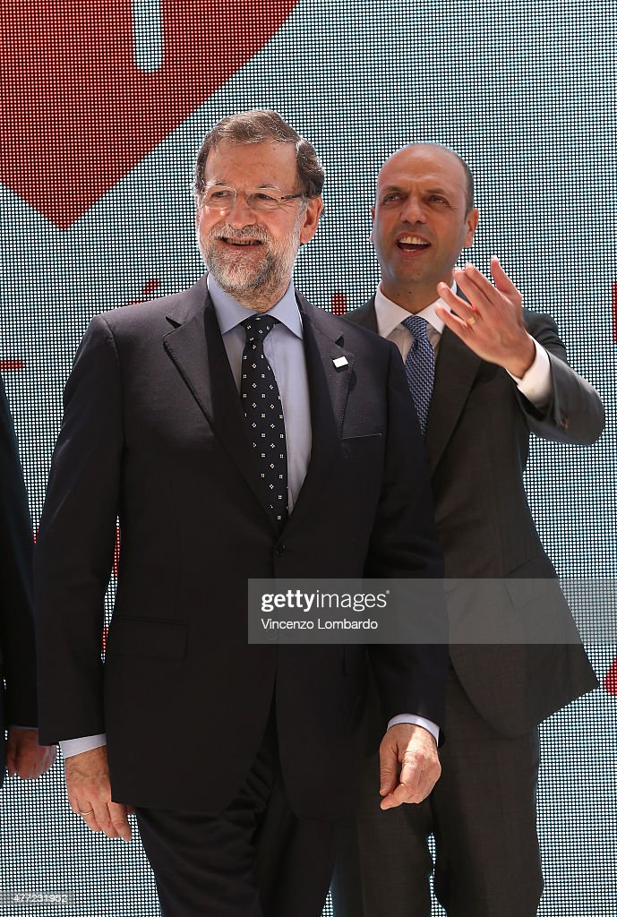 Spanish Prime Minister Mariano Rajoy and Minister Angelino Alfano visit Spain pavilion at Expo 2015 on June 15 2015 in Milan Italy