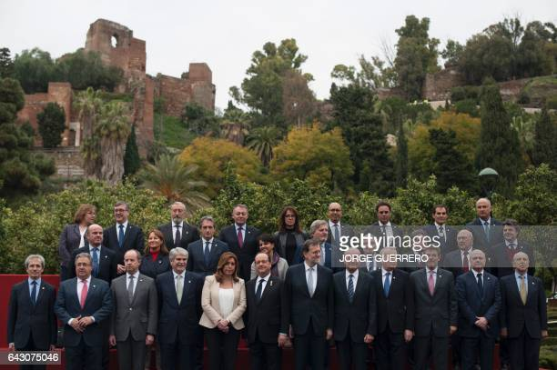 Spanish Prime Minister Mariano Rajoy and President of the French Republic Francois Hollande pose for a family photo flanked by President of...