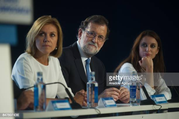 Spanish Prime Minister Mariano Rajoy and Spanish Minister of Defence Maria Dolores de Cospedal attend a regional party meeting at the World Trade...
