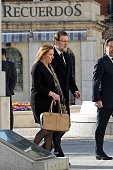 Spanish Prime Minister Mariano Rajoy and wife Elvira Fernandez attend the 10th anniversary Mass to pay homage to the victims of the Madrid train...