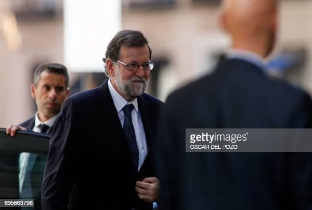 Spanish Prime Minister Mariano Rajoy arrives at the Congress of Deputies in Madrid on June 14 2017 before a vote of no confidence tabled by the...