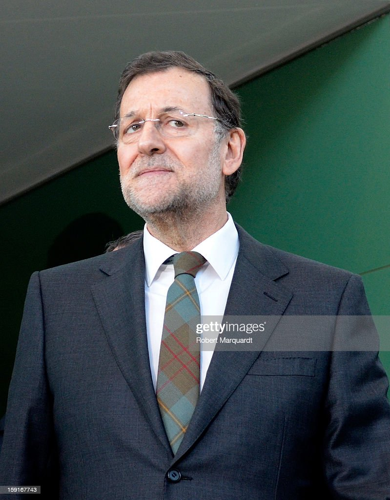 Spanish Prime Minister Mariano Rajoy arrives at the Figueres-Vilafant train station for the inauguration of the AVE high-speed train line between Barcelona and the french border on January 8, 2013 in Barcelona, Spain.