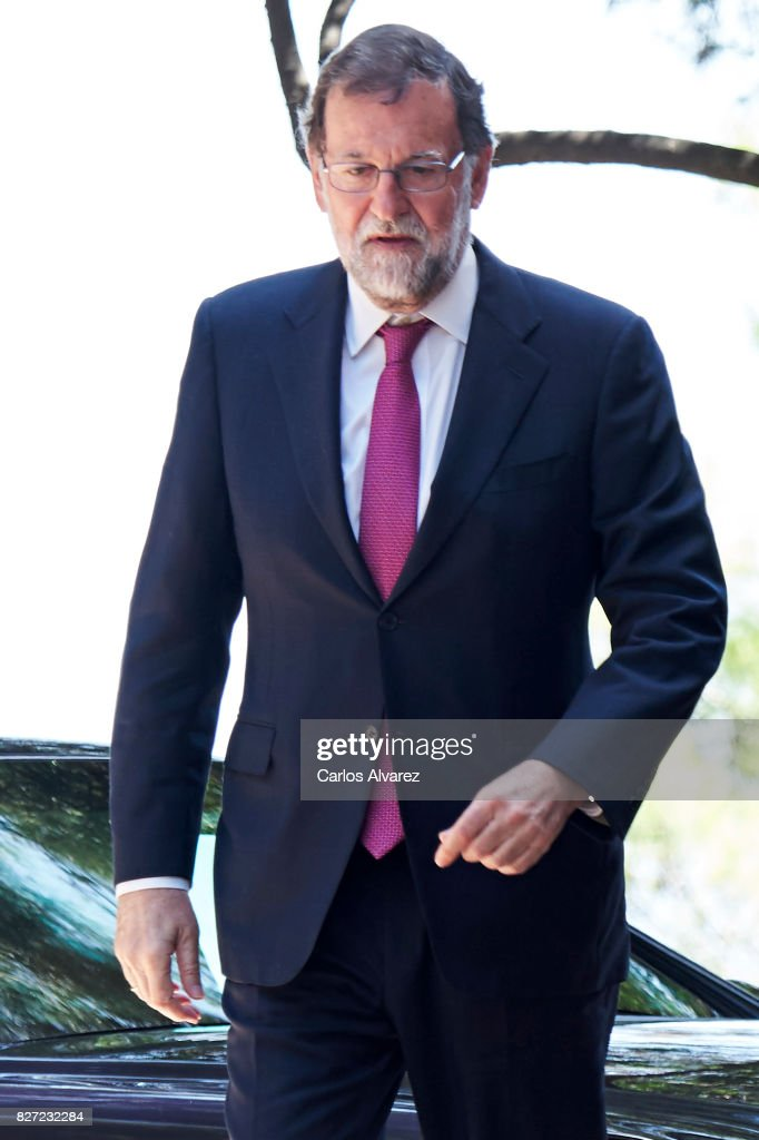 Spanish Prime Minister Mariano Rajoy arrives at the Marivent Palace for a meeting with King Felipe VI of Spain on August 7, 2017 in Palma de Mallorca, Spain.