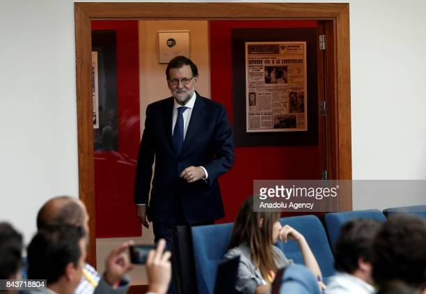 Spanish Prime Minister Mariano Rajoy arrives to address media after extraordinary cabinet meeting over Catalan parliament's referendum bill at...