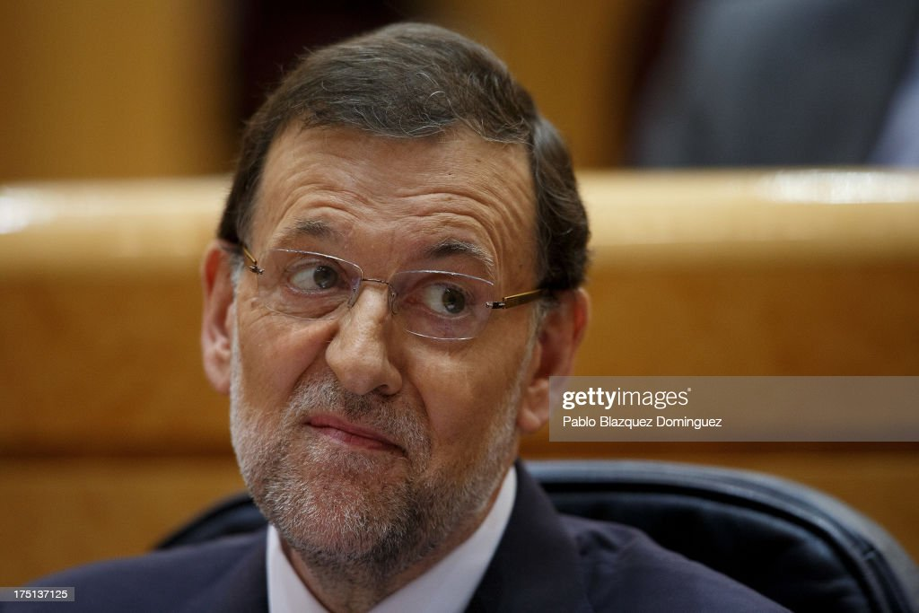 Spanish Prime Minister Mariano Rajoy (Popular Party leader) attends a parliament session to speak over allegations on corruption scandals on August 1, 2013 in Madrid, Spain. Rajoy admitted he made a mistake in trusting his former party treasurer Luis Barcenas but denied doing anything wrong himself.