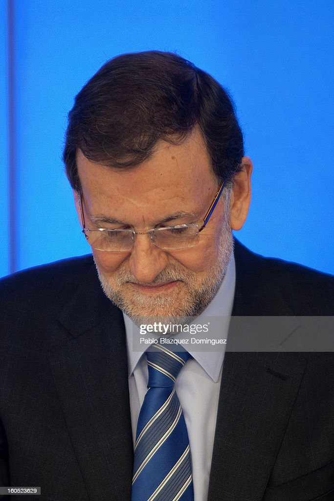 Spanish Prime Minister Mariano Rajoy attends a Popular Party national executive comitee on February 2, 2013 in Madrid, Spain. Spanish reports alleged Rajoy and other conservative politicians received regular payments from a previously undisclosed account run by the treasurers of his Popular Party from 1990 to 2008.