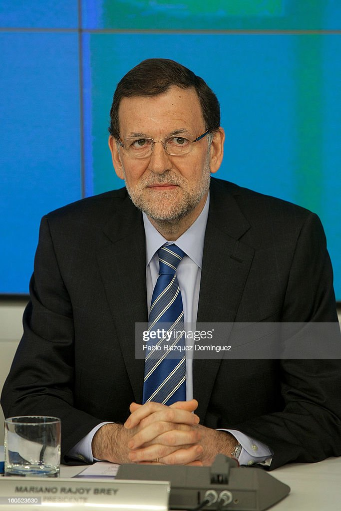 Spanish Prime Minister Mariano Rajoy attends a PP national executive comitee on February 2, 2013 in Madrid, Spain. Spanish reports alleged Rajoy and other conservative politicians received regular payments from a previously undisclosed account run by the treasurers of his Popular Party from 1990 to 2008.