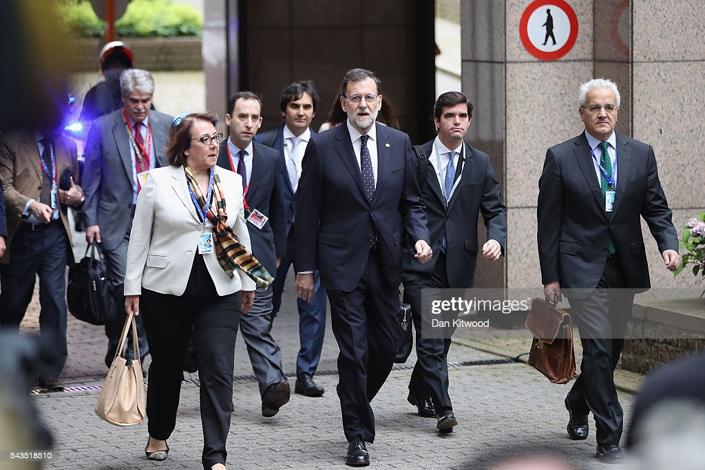 Spanish Prime Minister Mariano Rajoy (C) attends a second day of European Council meetings at the Council of the European Union building on June 29, 2016 in Brussels, Belgium. British Prime Minister David Cameron held talks with other EU leaders yesterday during his final scheduled meeting with the full European Council before standing down as Prime Minister. The meetings come at a time of economic and political uncertainty following the referendum result last week which saw the UK vote to leave the European Union.