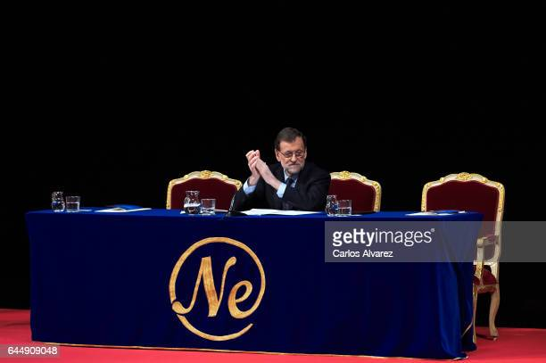 Spanish Prime Minister Mariano Rajoy attends the 'Nueva Economia Forum' Award at the Royal Theater on February 24 2017 in Madrid Spain