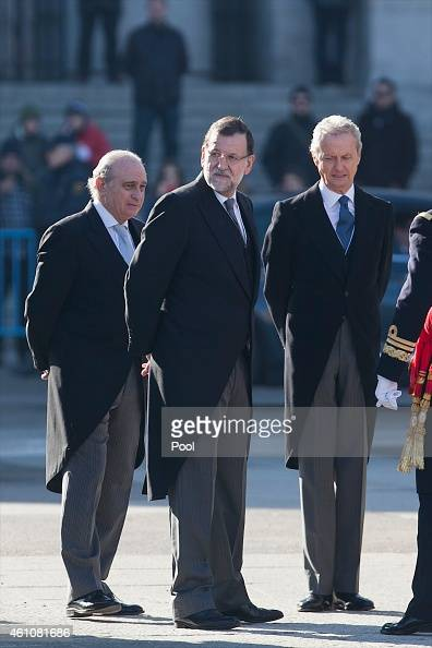 Spanish Prime Minister Mariano Rajoy attends the Pascua Militar ceremony at the Royal Palace on January 6 2015 in Madrid Spain