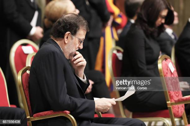 Spanish Prime Minister Mariano Rajoy during a meeting between Pope Francis and European Leaders at the Vatican on the Occasion of the 60th...
