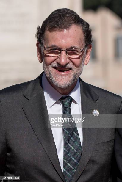 Spanish Prime Minister Mariano Rajoy during arrivals for an EU summit at the Palazzo dei Conservatori in Rome on Saturday March 25 2017 EU leaders...