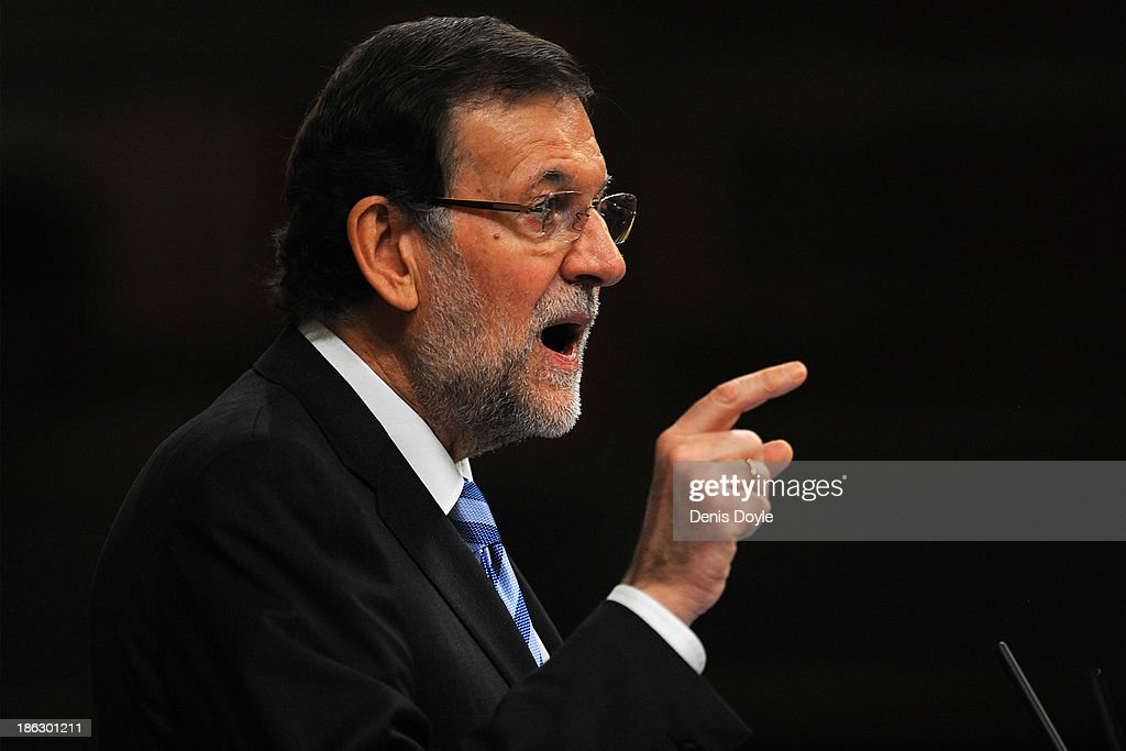 Spanish Prime Minister Mariano Rajoy gestures as he addresses the parliament about alleged mass U.S. eavesdropping on millions of Spanish citizens' phones on October 30, 2013 in Madrid, Spain. Spain's public prosecutor opened a preliminary investigation yesterday to see if the U.S. broke the law with their alleged National Security Agency (NSA) eavesdropping.