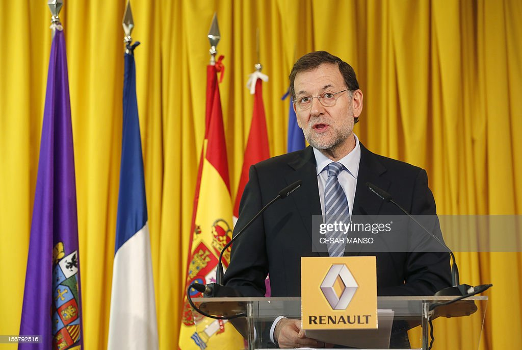 Spanish Prime Minister Mariano Rajoy gives a speech during a visit at the Villamuriel Renault factory in northern Spain on November 21, 2012. French car maker Renault plans to create 1,300 jobs at its factories in recession-hit Spain, Spanish Prime Minister Mariano Rajoy said. Renault has an industrial plan to develop its Spanish plants which will involve 'the creation of 1,300 new jobs', Rajoy said.