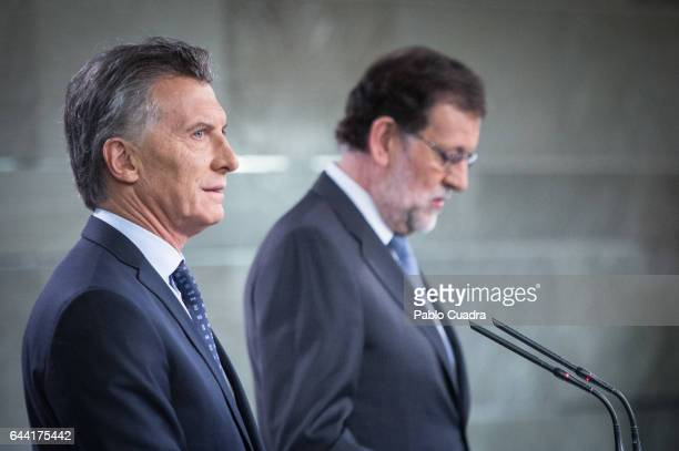 Spanish Prime Minister Mariano Rajoy holds a joint press conference with President of Argentina Mauricio Macri at Moncloa Palace on February 23 2017...