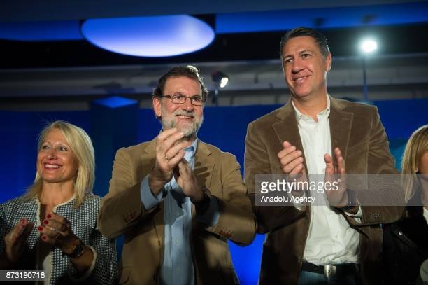 Spanish Prime Minister Mariano Rajoy Leader of the Catalan Popular Party Xavier Garcia Albiol and Spanish Minister of Defence Maria Dolores de...
