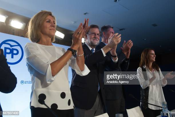 Spanish Prime Minister Mariano Rajoy leader of the Partido Popular Xavier Garcia Albiol and Spanish Minister of Defence Maria Dolores de Cospedal...