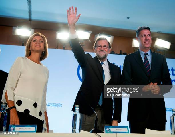 Spanish Prime Minister Mariano Rajoy leader of the Popular Party of Catalonia Xavier Garcia Albiol and Minister of Defence Maria Dolores de Cospedal...