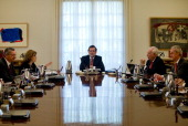 Spanish Prime minister Mariano Rajoy leads the Goverment Cabinet to approve the draft law proposal for the Spanish Crown succesion at La Moncloa...