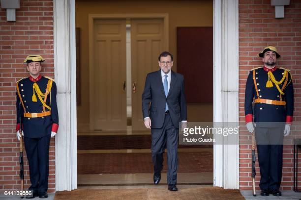 Spanish Prime Minister Mariano Rajoy makes his way to meet President of Argentina Mauricio Macri at Moncloa Palace on February 23 2017 in Madrid...