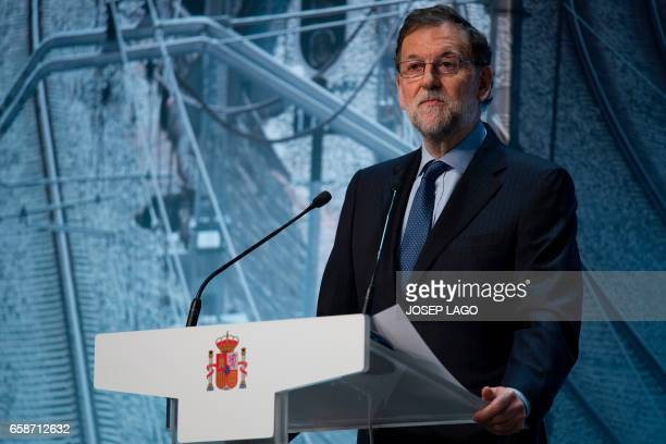 Spanish Prime Minister Mariano Rajoy makes the opening speech during a conference on infrastructure under the slogan 'Connected to the future' in...
