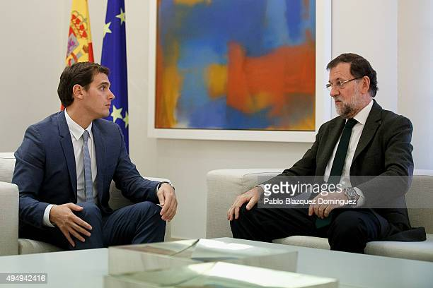 Spanish Prime Minister Mariano Rajoy meets Ciudadanos party leader Albert Rivera at Moncloa Palace on October 30 2015 in Madrid Spain Rajoy is...
