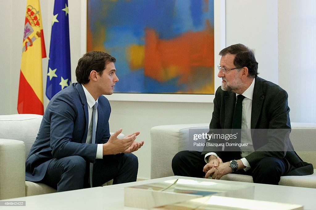 Spanish Prime Minister Mariano Rajoy (R) meets Ciudadanos party leader <a gi-track='captionPersonalityLinkClicked' href=/galleries/search?phrase=Albert+Rivera&family=editorial&specificpeople=3987401 ng-click='$event.stopPropagation()'>Albert Rivera</a> (L) at Moncloa Palace on October 30, 2015 in Madrid, Spain. Rajoy is meeting with Ciudadanos (Citizens) party leader <a gi-track='captionPersonalityLinkClicked' href=/galleries/search?phrase=Albert+Rivera&family=editorial&specificpeople=3987401 ng-click='$event.stopPropagation()'>Albert Rivera</a> and Podemos (We Can) party leader Pablo Iglesias for the first time today to discuss the Catalan's independence challenge. Two Catalan secessionist parties are due to approve a resolution in the regional parliament which will start the process of forming a new state.