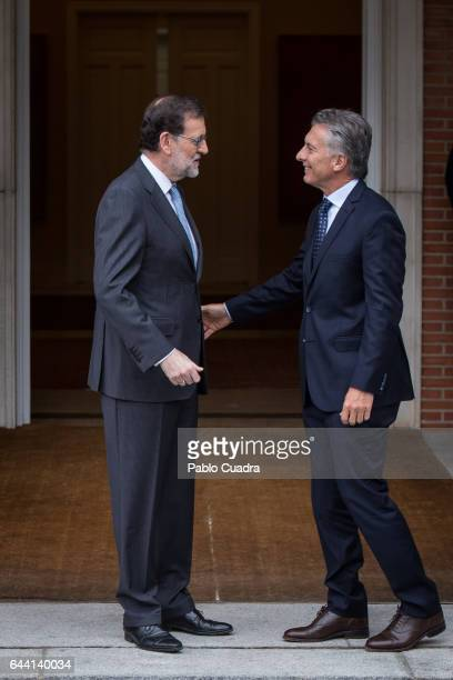 Spanish Prime Minister Mariano Rajoy meets President of Argentina Mauricio Macri at Moncloa Palace on February 23 2017 in Madrid Spain Argentinian...
