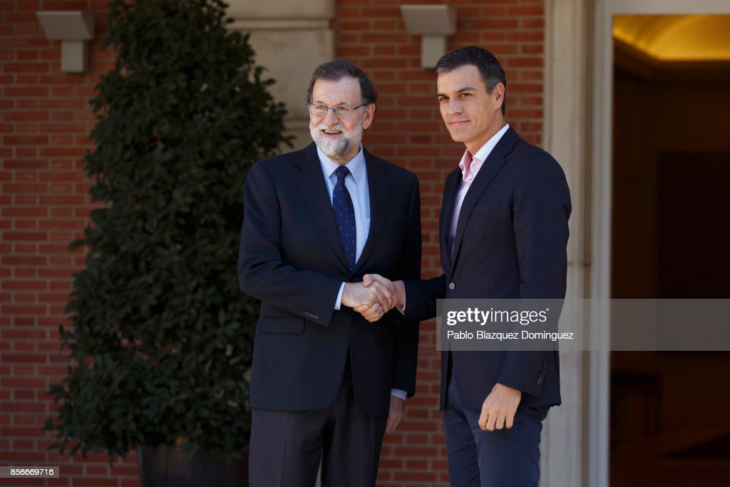 Spanish Prime Minister Mariano Rajoy (L) meets the leader of Spanish Socialist Party (PSOE) Pedro Sanchez (R) at the Moncloa Palace on October 2, 2017 in Madrid, Spain. According to the Catalonia's government more than two million people voted yesterday in the referendum of Catalonia, which the Government in Madrid had declared illegal and undemocratic. Officials said that 90% of votes cast were for independence. The Catalan goverment's spokesman said that an estimated of 770,000 votes were lost as a result of 400 polling stations being raided by Spanish police. Hundreds of citizens were injured during the police crackdown.