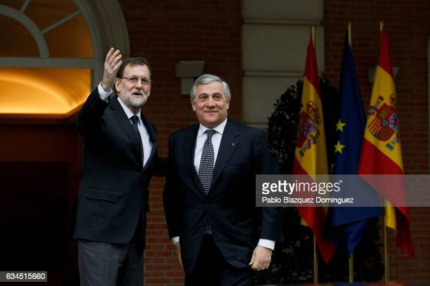 Spanish Prime Minister Mariano Rajoy meets the President of the European Parliament Antonio Tajani at Moncloa Palace on February 10 2017 in Madrid...