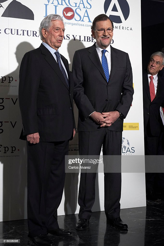 Spanish Prime Minister Mariano Rajoy, Peruvian author and Nobel Prize in Literature <a gi-track='captionPersonalityLinkClicked' href=/galleries/search?phrase=Mario+Vargas+Llosa&family=editorial&specificpeople=620765 ng-click='$event.stopPropagation()'>Mario Vargas Llosa</a> and Former President of Chile <a gi-track='captionPersonalityLinkClicked' href=/galleries/search?phrase=Sebastian+Pinera&family=editorial&specificpeople=768332 ng-click='$event.stopPropagation()'>Sebastian Pinera</a>attend 'Vargas Llosa: Cultura, Ideas Y Libertad' Seminar at Casa de America on March 29, 2016 in Madrid, Spain.