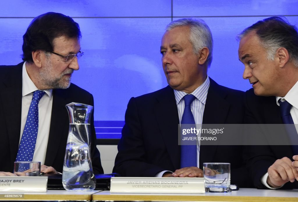 Spanish Prime Minister Mariano Rajoy Popular Party's Deputy Secretary Javier Arenas and Popular Party's Deputy Secretary Esteban Gonzalez Pons attend...