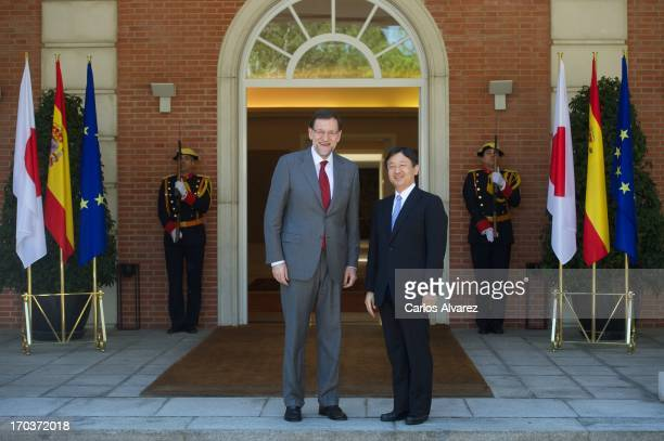 Spanish Prime Minister Mariano Rajoy receives Prince Naruhito of Japan at the Moncloa Palace during the third day of his visit to Spain on June 12...
