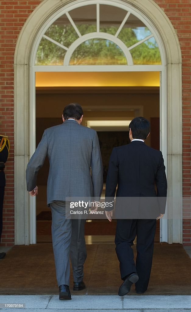 Spanish Prime Minister Mariano Rajoy (L) receives Prince Naruhito of Japan (R) at the Moncloa Palace during the third day of his visit to Spain on June 12, 2013 in Madrid, Spain. Japanese Crown Prince Naruhito is on a six-day official visit to Spain to mark the 400th anniversary of bilateral ties between the nations.