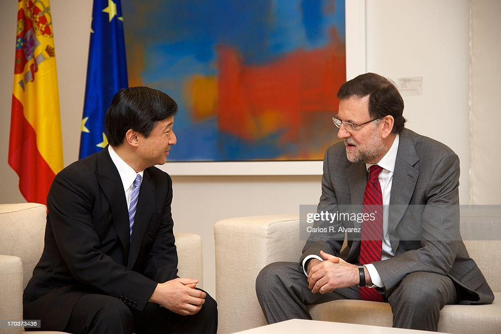 Spanish Prime Minister Mariano Rajoy (R) receives Prince Naruhito of Japan (L) at the Moncloa Palace during the third day of his visit to Spain on June 12, 2013 in Madrid, Spain. Japanese <a gi-track='captionPersonalityLinkClicked' href=/galleries/search?phrase=Crown+Prince+Naruhito&family=editorial&specificpeople=158365 ng-click='$event.stopPropagation()'>Crown Prince Naruhito</a> is on a six-day official visit to Spain to mark the 400th anniversary of bilateral ties between the nations.