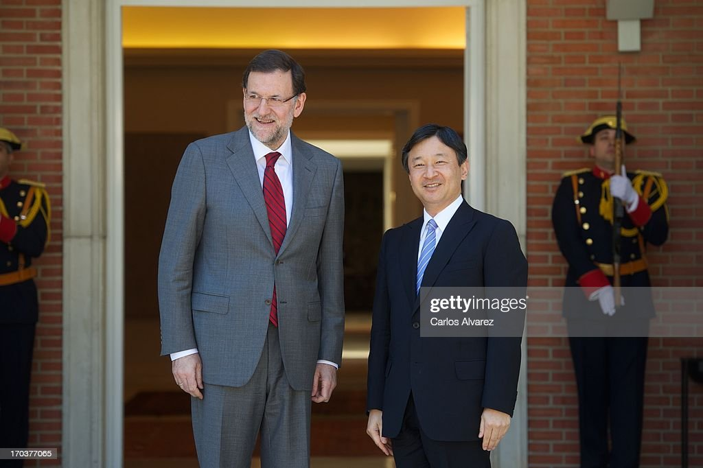Spanish Prime Minister Mariano Rajoy (L) receives Prince Naruhito of Japan (R) at the Moncloa Palace during the third day of his visit to Spain on June 12, 2013 in Madrid, Spain. Japanese <a gi-track='captionPersonalityLinkClicked' href=/galleries/search?phrase=Crown+Prince+Naruhito&family=editorial&specificpeople=158365 ng-click='$event.stopPropagation()'>Crown Prince Naruhito</a> is on a six-day official visit to Spain to mark the 400th anniversary of bilateral ties between the nations.