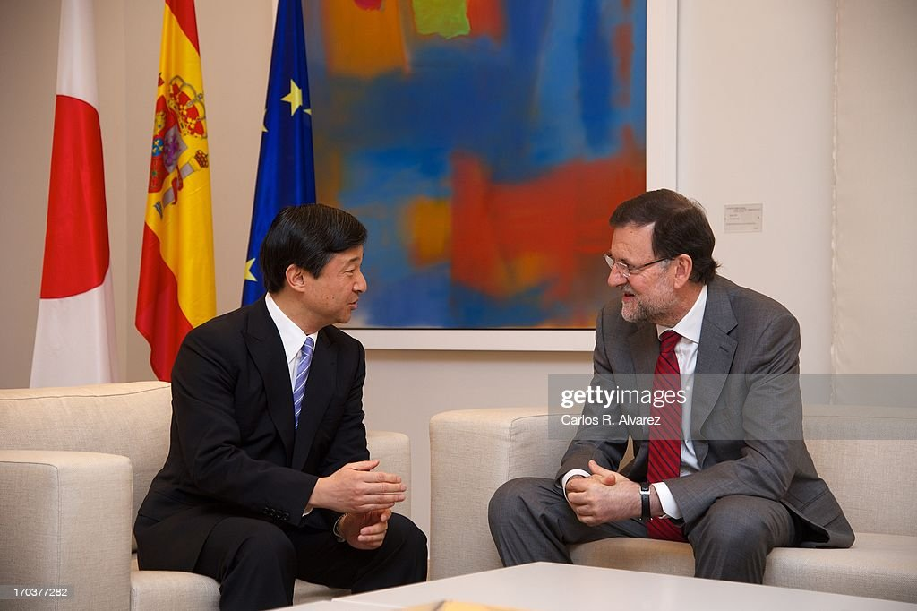 Spanish Prime Minister Mariano Rajoy (R) receives Prince Naruhito of Japan (L) at the Moncloa Palace during the third day of his visit to Spain on June 12, 2013 in Madrid, Spain. Japanese Crown Prince Naruhito is on a six-day official visit to Spain to mark the 400th anniversary of bilateral ties between the nations.