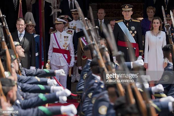 Spanish Prime Minister Mariano Rajoy Spain's King Felipe VI Spain's Queen Letizia and Spanish Crown Princess of Asturias Leonor review troop at the...