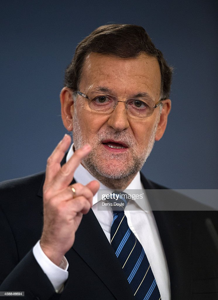 Spanish Prime Minister Mariano Rajoy speaks about the recent unofficial Catalonian independence poll during a press conference at the Moncloa palace on November 12, 2014 in Madrid, Spain. An estimated 2 million Catalans voted on November 9th to seperate from Spain in the unofficial poll after the Spanish state blocked in courts a more legally binding referendum.
