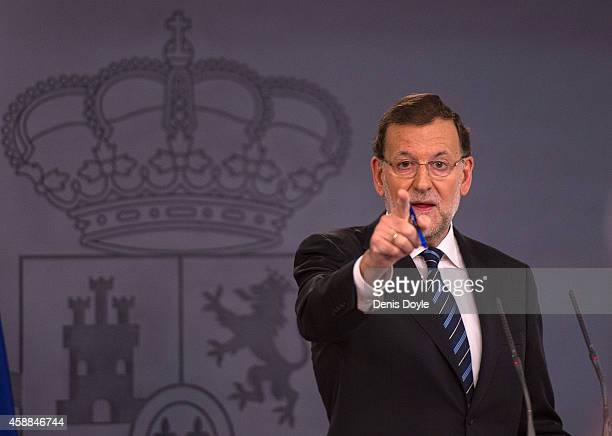 Spanish Prime Minister Mariano Rajoy speaks about the recent unofficial Catalonian independence poll during a press conference at the Moncloa palace...